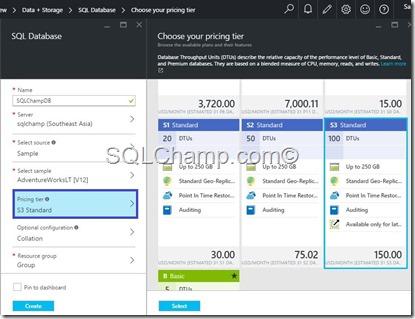 SQLAzure Pricing tiers