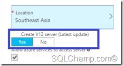 Need V12 Database SQLAzure