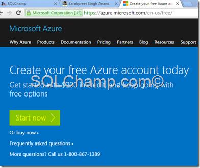 Get Free Azure subscription SQLChamp