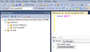 Screenshot DBTS timestamp sqlchamp