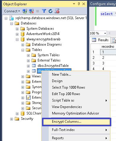 Always Encrypted step 1