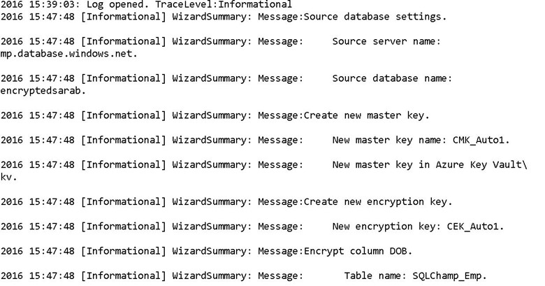 Always Encrypted - log Report
