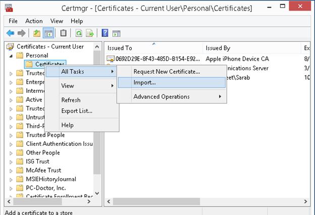 Import Export of Column Master Keys using Certmgr