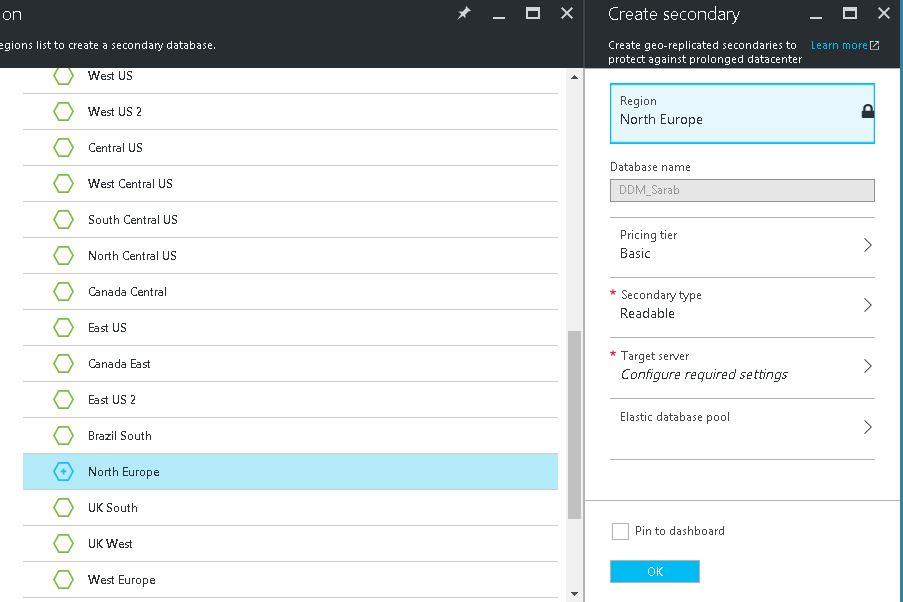 How to configure Active Geo Replication using Azure portal