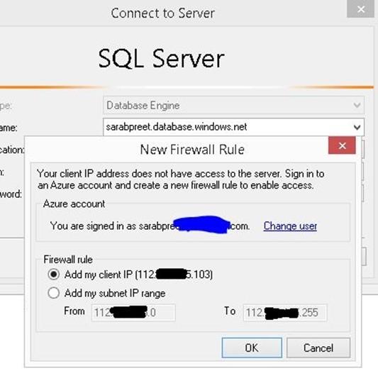 Add Client IP range for Azure SQL Database from SSMS